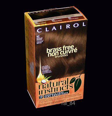 Clairol natural instincts 5C Medium Brown - Brass Free - Hair Color Dye (1 kit)