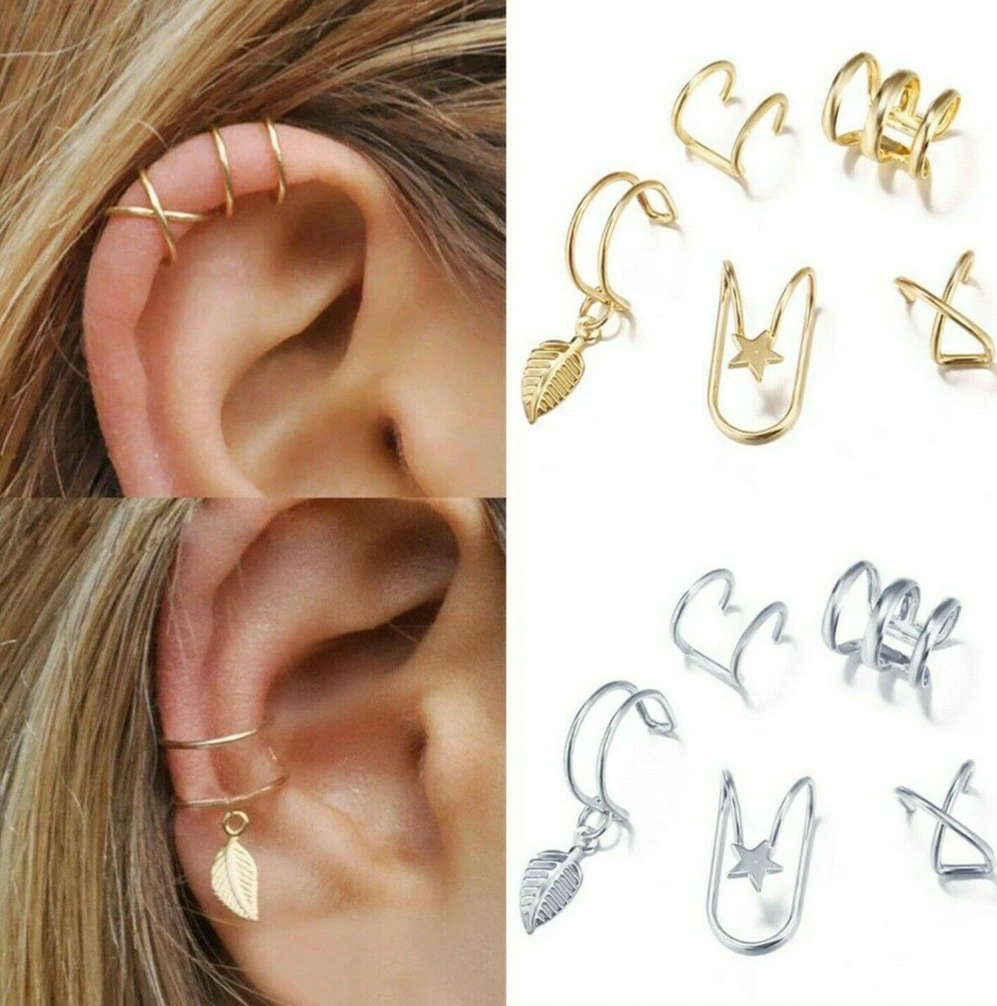 Damen Ohrring Ohrstecker Ohrclip Ohrklemme Ohrschmuck Set Gold Silber Ohrenclips