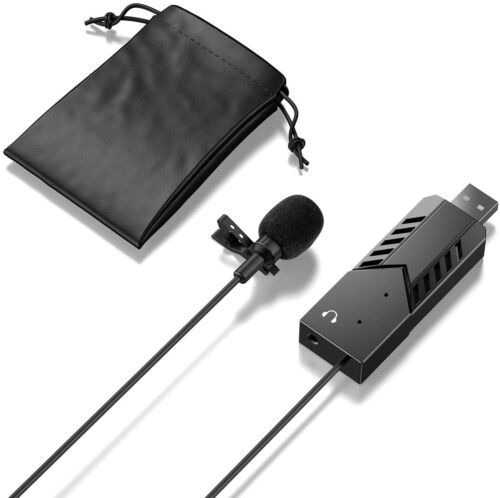 USB Microphone Lavalier Mic Lapel Clip On, Professional, PC, Recording Podcasts