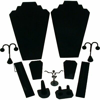 11 Pc Set Black Velvet Jewelry Displays Busts Bonus