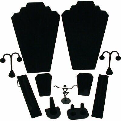 11 Pc Set Black Velvet Jewelry Displays Busts Bonus