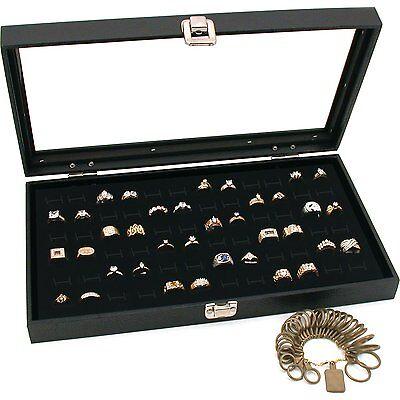 Black Glass Top Jewelry Display 72 Ring Case Box Bonus
