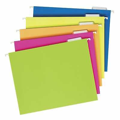 Pendaflex Glow Hanging File Folders 5 Tab Assorted Colors Pack Of 25