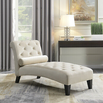 Leisure Sofa Chair Chaise Lounge Couch Button Living Room Lumber Tufted, Beige ()
