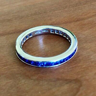 Platinum Eternity Wedding Band Ring (Platinum Sapphire Full Eternity Wedding Band 3.5 mm Size 7.25)