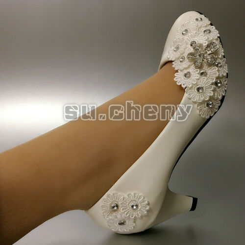 "su.cheny 2"" 3"" White crystal Wedding shoes lace flowers heels Bridal shoes pumps"