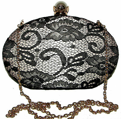 LULU TOWNSEND Lace Black/Beige  Hard Shell handbag purse clutch NWT  for sale  Shipping to India