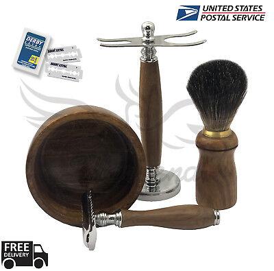 Safety Razor DE Shaving Set ZEVA Omega Dorco Best 5in1 Men Gift