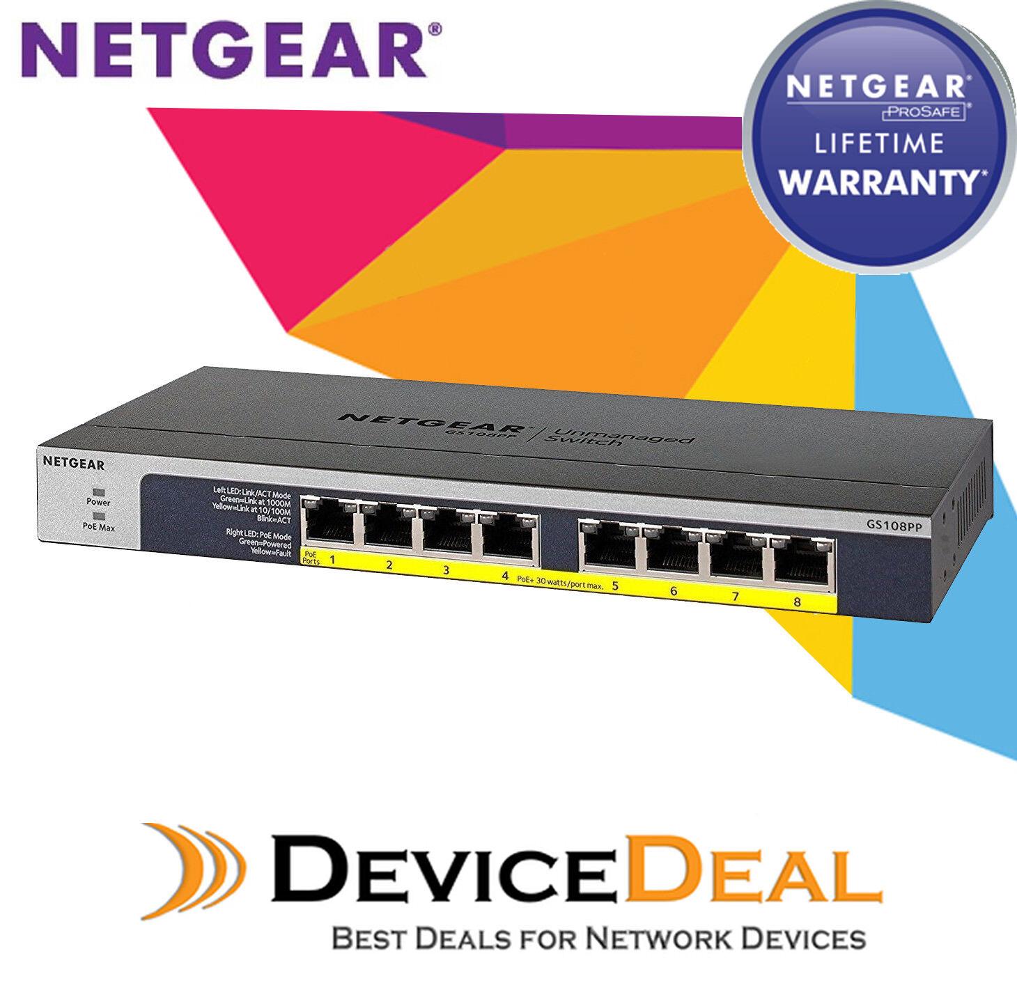 Netgear GS108PP ProSAFE 8 port POE POE+ Gigabit Ethernet