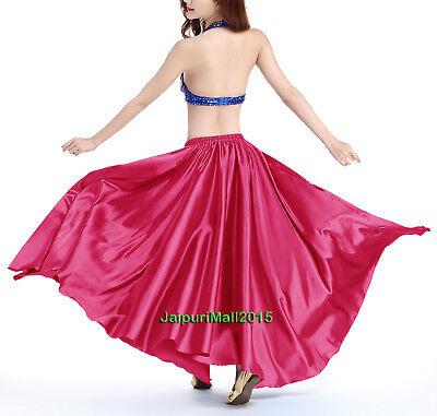Heißes Rosa Satin Rock voller Kreis Bauchtanz kostüm Röcke Tribal Orientalisch Bauchtanz Satin Röcke