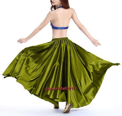 Oliv grün Satin Rock voller Kreis Bauchtanz kostüm Röcke Tribal Orientalisch Bauchtanz Satin Röcke