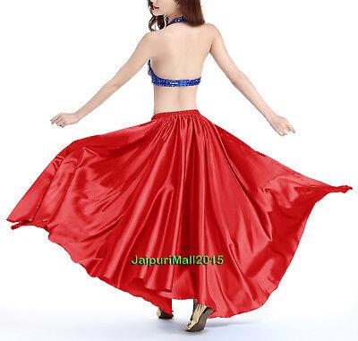 Rot Satin Rock voller Kreis Bauchtanz kostüm Röcke Tribal Orientalisch Gypsy Rot Voller Rock