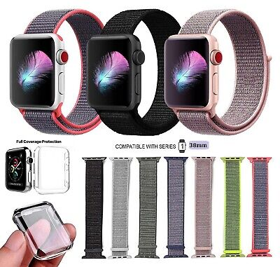 Series 1 38MM Nylon Loop Replacement Band For Apple iWatch + Full Cover Case