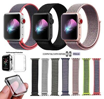 Nylon Loop Replacement Band For Apple iWatch Series 2/3 38MM + Full Cover Case