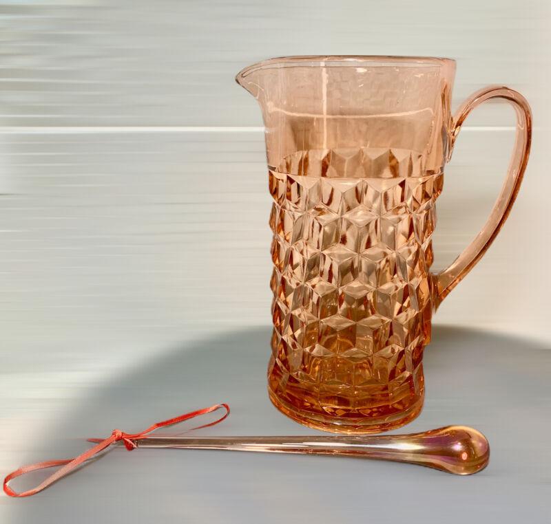 Vintage Jeanette Glass Pink Cubist Depression Era Pitcher With Muddle Stick