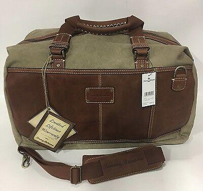 NEW TOMMY BAHAMA CASUAL BAG CANVAS / LEATHER DUFFLE BAG  $350 KHAKI COGNAC