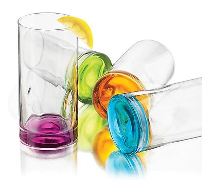 Libbey Colored Glasses Set 4-Piece Kitchen Drinking Beverage Tumblers Coolers