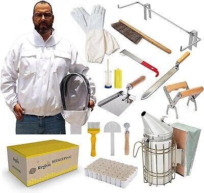 Deluxe Bekeeping Starter Kit 16pcs Beekeepers Jacket Xl Beehive Tools