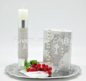 Silver First Communion Candle Set Spanish Boys Girls Gift Vela Primera Comunion