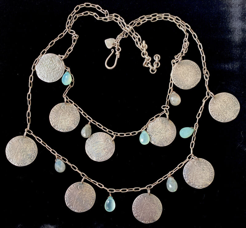 """VINTAGE STERLING SILVER ANCIENT COIN OPALESCENT GEMSTONE BIB NECKLACE 19"""""""