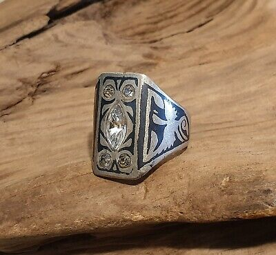 Antique Near Eastern Ring with Dragon or Phoenix Niello Inlay & Clear Gemstones