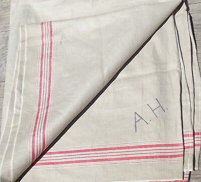 Antique French Provincial Long Table Cloth Linen Oatmeal redstripes
