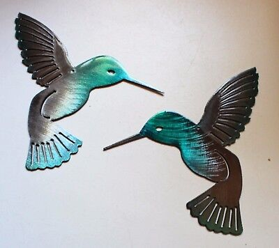 "Hummingbird  Teal Tainted Pair Metal Wall Art Decor 6"" pair"