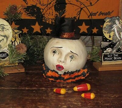 Primitive Antique Vtg Style Halloween Paper Mache Magic Clown Man Moon Bucket - Paper Mache Halloween Decorations