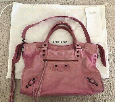 Balenciaga Bubblegum Pink Chevre Classic City Moto Handbag Leather Bag w/Receipt