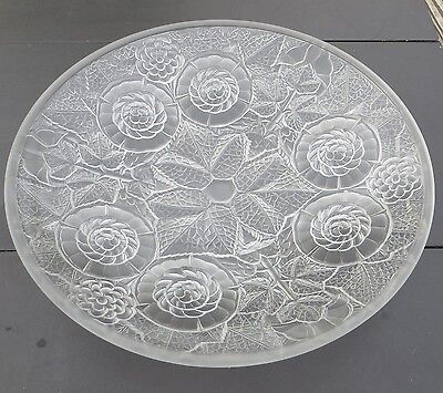 French Art Deco Style Frosted Pressed Glass Shallow Bowl, Flowers - Etling Style