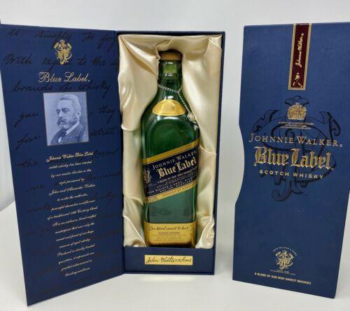 JOHNNIE WALKER BLUE LABEL SCOTCH WHISKEY BOX & EMPTY BOTTLE 750ml - PRISTINE NEW