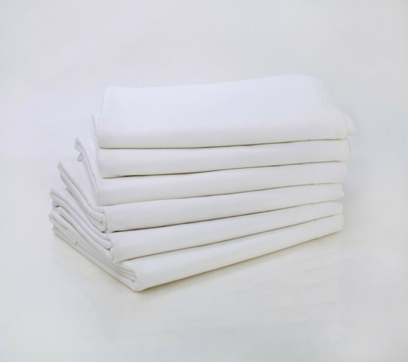 LOT OF 6 NEW WHITE QUEEN SIZE 90X110 FLAT BED SHEET T200 PERCALE HOTEL LINEN