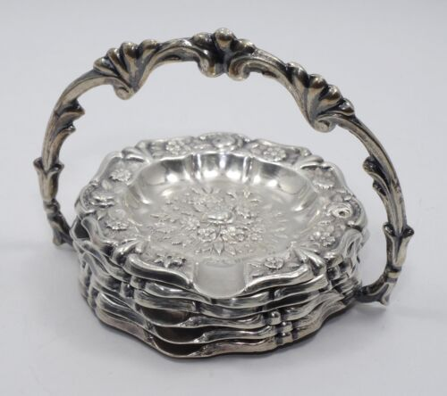 ANTIQUE c 1900 SPANISH STERLING EL TRIANON ROSE REPOUSSE SET 6 OF ASHTRAY ~72 g