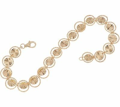 Diamond Cut Reversible Disc Circle Link Bracelet Real 14K Yellow Gold  QVC