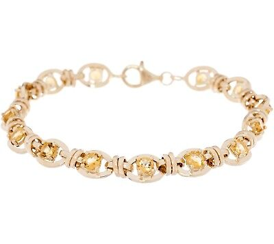 (Natural Yellow Citrine Gemstone Tennis Bracelet Real Solid 14K Yellow Gold QVC)