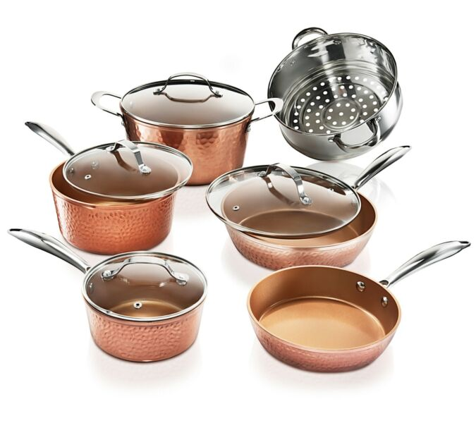 Gotham Steel 10 Piece Hammered Nonstick Copper Cookware Set - AS Seen on TV! NEW 1