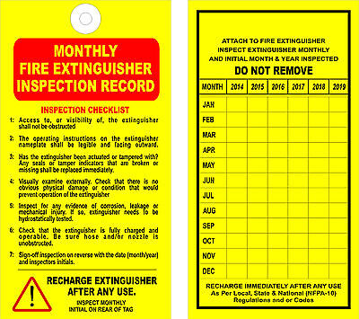 (12) FIRE EXTINGUISHER - MONTHLY INSPECTION TAGS - (Valid 6 Years) - OSHA - NFPA
