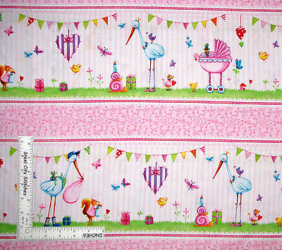 (Nursery Baby Girl Border Stripe Cotton Fabric Red Rooster Bundle Of Pink Yard)
