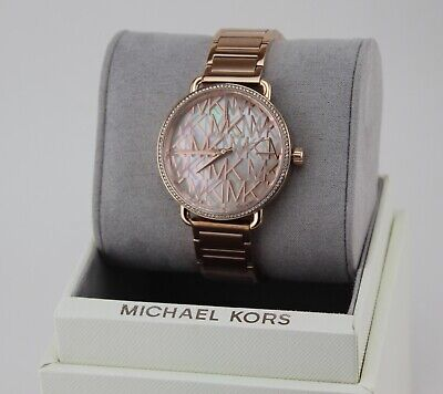NEW AUTHENTIC MICHAEL KORS PORTIA CRYSTALS ROSE GOLD MOP WOMEN'S MK3887 WATCH