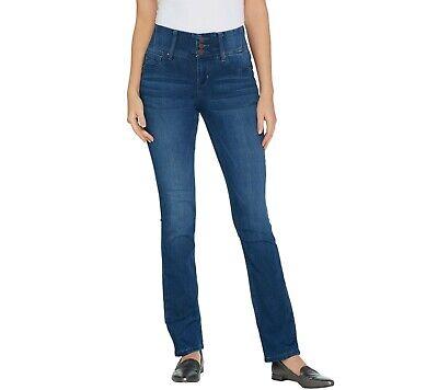 Laurie Felt Tall Curve Silky Denim Straight Leg Jeans Medium Wash LT Size QVC Curved Pocket Jeans