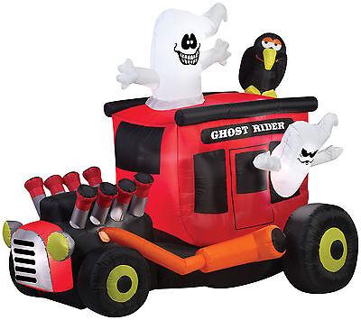 HALLOWEEN GHOST RIDER HOT RODDER ROD CAR   INFLATABLE AIRBLOWN  ROCKABILLY - Airblown Ghost