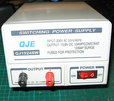 QJE 10-12amp Switch Mode 240v 12v DC Power Supply PSU for CB Two-Way Radio etc