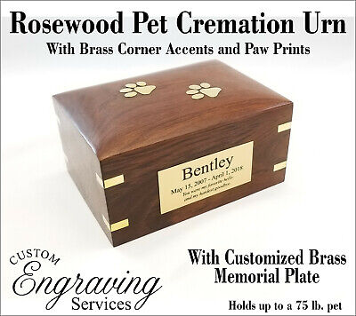 PET CREMATION URN ROSEWOOD URN BRASS CORNER ACCENTS BRASS PAWS - ROSEWOODPAWS-3