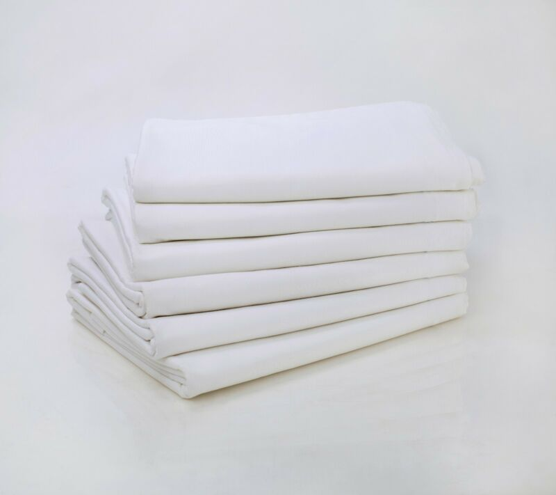 LOT OF 24 NEW WHITE FULL SIZE 81X110 FLAT BED SHEET T200 PERCALE HOTEL LINEN