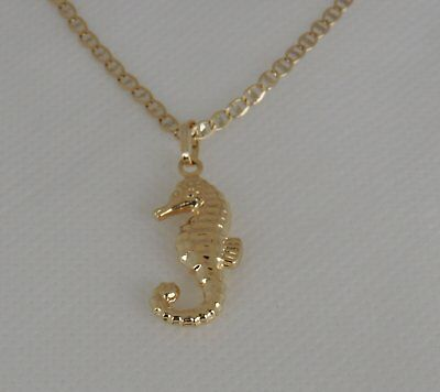 14K Yellow Gold Seahorse Pendant Fish Hollow Charm Necklace Fishing Sailor Gift 14k Gold Seahorse Pendant