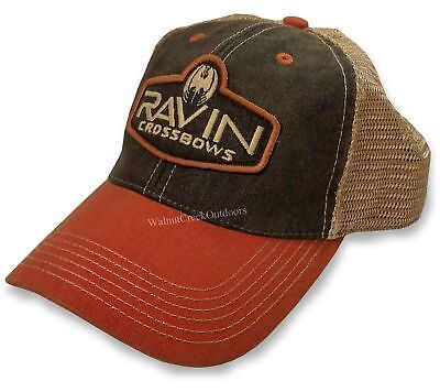 a2978b3631c1e Ravin Crossbows Brown Orange Tan Embroidered Logo Low Mesh Back Hat  R231
