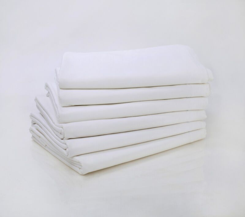 LOT of 6 NEW QUEEN SIZE WHITE HOTEL FLAT SHEETS T-180 COTTON RICH SINGLE PICK