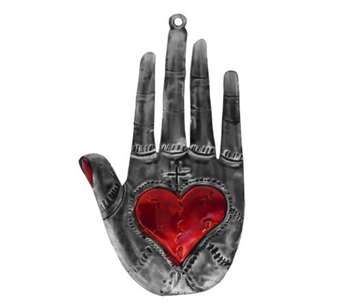 Punched Tin Sacred Milagro Heart in Hand Hamsa Ornament Ex-Voto Mexican Folk Art