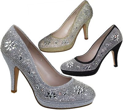 Evening High Heels - Womens Platforms High Heels Wedding Bridal Evening Diamante Ladies Party Shoes