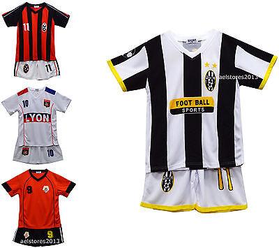 Neu Kinder Jungen Fußball Top und Short Set T-Shirt und Shorts Outfit Alter 2-13